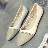 Spring Autumn Fashion Women Flat shoes Pointed Toe Soft Outsole Flat Heel Shoes Single Casual Flat Plus Size 40  B266