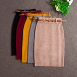 2017 Fashion Skirts Autumn winter Casual Women High Waist Knee-length Knitted Pencil Skirt Elegant slim Long Skirts - Raja Indonesia