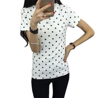 2016  Summer  Women's T-Shirt  Polka Black Dotted Clothes Shirt O-neck Short Tops Bottoming Tops - Raja Indonesia