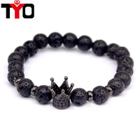 2017 New Fashion Lava Charm Bracelets For Men Popular boys Imperial Crown Braiding Brand Macrame Strand Beads Bracelets Gift . - Raja Indonesia