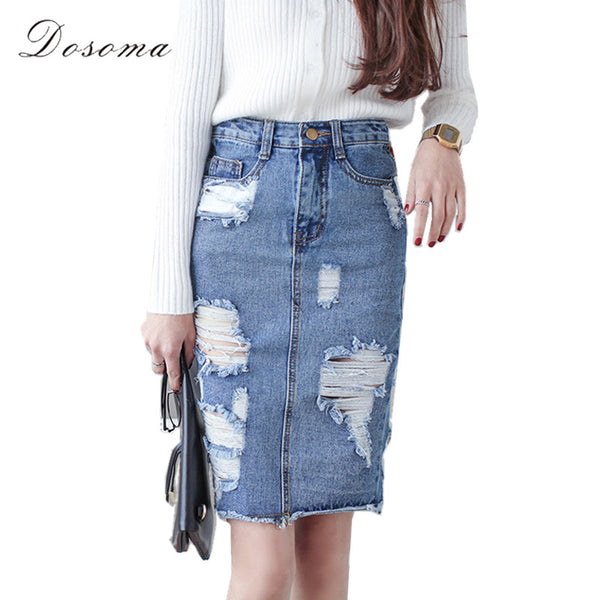 3XL Plus Size Denim Skirt Women 2017 Spring/Autumn Vintage Ripped Denim Skirt Women Slim Office Skirt Sexy Pencil Skirt Jeans - Raja Indonesia