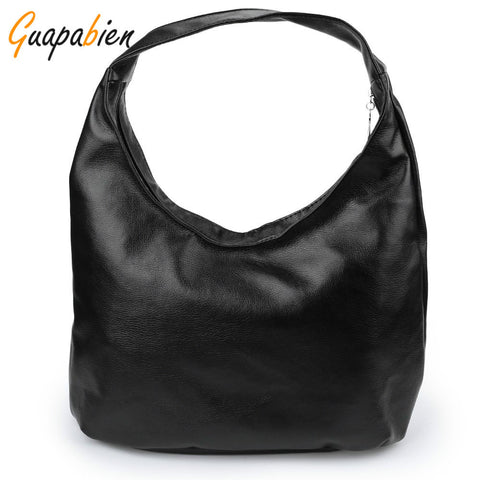 Guapabien Women Shoulder Bags Black PU Leather Bags Solid Hobos Designer Handbags Ladies Messenger Bag For Women Bolso Bags - Raja Indonesia