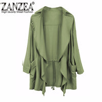 2017 Spring Women Slim Thin Trench Outerwear Casual Lapel Windbreaker Cape Coat European Style Chiffon Cardigan Plus Size S-5XL - Raja Indonesia