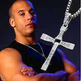 10PCS/Lot Fast And The Furious Dominic Toretto Vin New Movie Jewelry Classic Rhinestone Pendant Sliver Cross Necklaces Men - Raja Indonesia