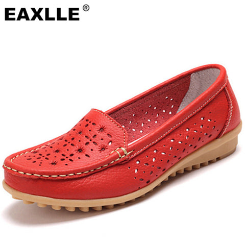 2017 Genuine Leather Oxfords Sole Round Toe Women Flat Shoes 4 Colors Leisure Lady Casual Shoes Hollow Women's Loafers JJ808 - Raja Indonesia