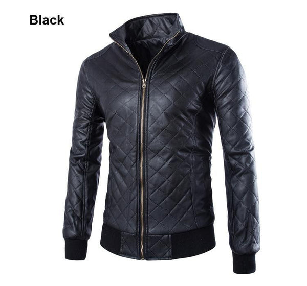 2015 New Fashion Slim Fit PU Leather Jacket Men Collar Solid Slim Men Leather Jacket Top Quality Motorcycle Men Outwear - Raja Indonesia