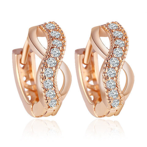 2016  New Arrival  Plated Gold Earring For Women Fashion Personality Temperament Zircon Crystal Earrings - Raja Indonesia