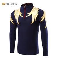 2016 Fashion Design Men's Polo Shirts Printing Pattern Long-sleeved Polo Homme Stand Collar Slim POLO shirt - Raja Indonesia