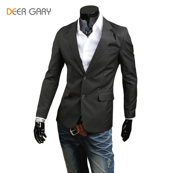 2016 Hot Sale Men Slim Fit Suit Soild Color Single breasted Leisure Men Jacket Blazer Plus Size M-2XL - Raja Indonesia