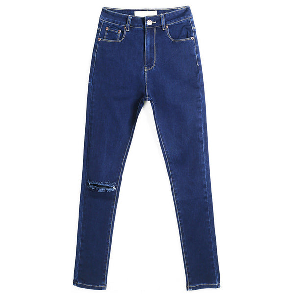 2016 New Arrival Skinny Jeans For Women Europen Style Slim Pencil Pants Knee Hole Design Jeans Women Plus Size Cowboy Pants - Raja Indonesia