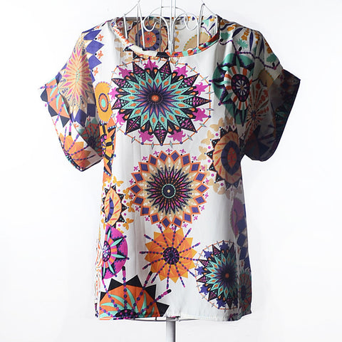 2015 New Print Chiffon Women Blouse 19 Patterns Blouse Free Shipping O-Neck Short Sleeve Drop Shipping Blouse 5 size S-XXL - Raja Indonesia