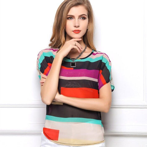 European and American Fashion Style Rainbow Colored Batwing Short Sleeve Loose Chiffon Irregular Striped Female's Blouse - Raja Indonesia