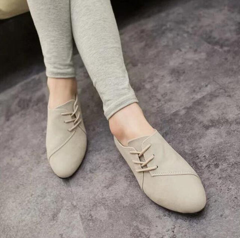 2017 New Hot Selling Spring Casual Women Shoes Women Nubuck Leather lace-Up Flat Shoes Handsome Head Toe Shoes F695 - Raja Indonesia