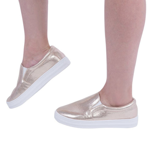 Autumn Spring Fashion Women Patent Leather Casual Flat Shoes Shining Lazy Slip On Thick Crust Muffin Pedal Flat Loafers Shoes - Raja Indonesia
