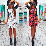 2017 Spring New Hot Print Dress O-Neck Half-Sleeved Dress Casual Comfortable Mini Canonicals - Raja Indonesia