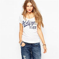 2016 New European Style T shirt Character Letter Print O-neck Short Sleeve Plus Large Size T-shirt  Women Casual Tops 60035 - Raja Indonesia