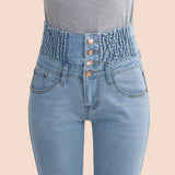 2017 Jeans Womens High Waist Elastic Skinny Denim Long Pencil Pants Plus Size 40 Woman Jeans Camisa Feminina Lady Fat Trousers - Raja Indonesia