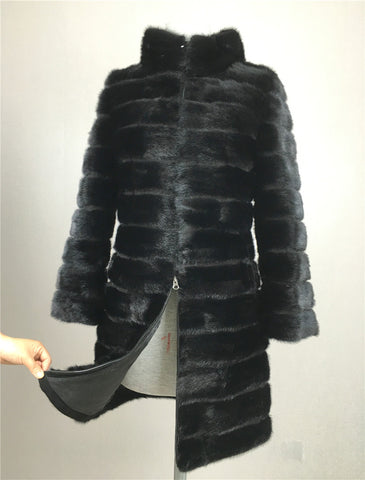 LIYAFUR 2017 Real Mink Fur Coat for Women Natural Genuine Russian Fur Coats Luxury Black Color Customized Size - Raja Indonesia