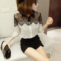 2015 New Women Clothing Korean Women Elegant Vintage Female Shirt Long Sleeve Hollow Out Black Lace Chiffon Blouse White Color - Raja Indonesia