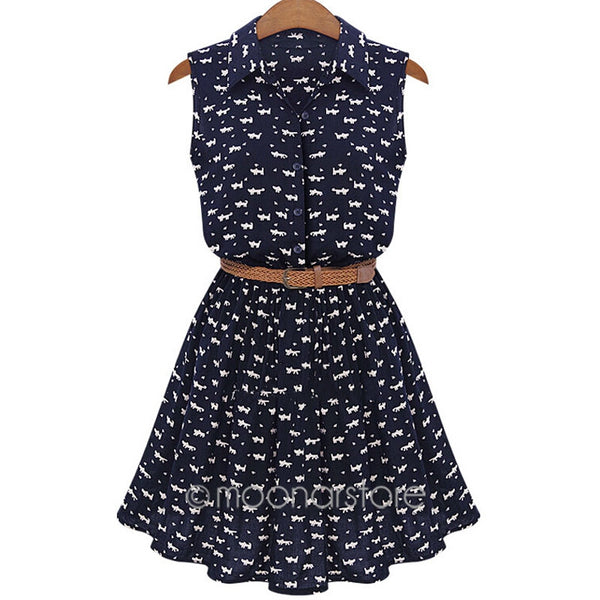 2017 Sweet Cat Footprint Print Summer Dress Sleeveless High Waist with Belt Shirt Dress Woman Casual Mini Women Dress - Raja Indonesia