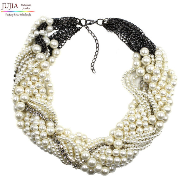 2017 New fashion Z bib collar necklace & pendant chunky luxury choker simulated pearl Necklace statement necklace - Raja Indonesia