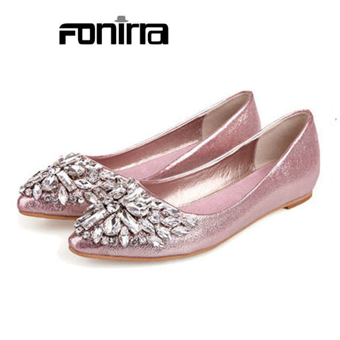 Fashion Women Flats Solid Slip-on Rhinestone Women Shoes Pointed Toe Party Style Sweet Flat With Breathable Shoes 206 - Raja Indonesia