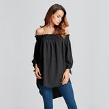 2017 Plus Size Women Blusas Sexy Off Shoulder Slash Neck Blouse Shirts Casual 3/4 Sleeve Bowknot Irregular Hem Loose Long Tops - Raja Indonesia