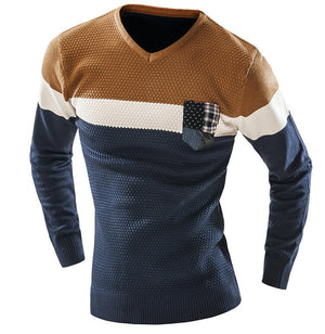 Sweater Lengan Panjang Slim Pull Kombinasi Orange dan Biru Navy