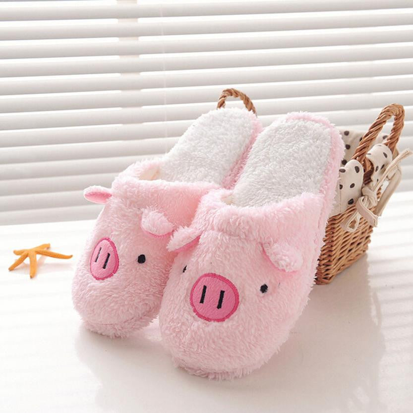 9f43df45726 Winter women warm slippers indoor home shoes cotton slipper lovely pig home  floor soft stripe slippers
