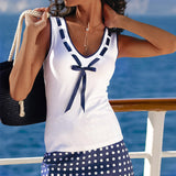 2017 Summer Fashion T Shirt Women Blusas Casual V Neck Bow Patchwork T-shirt Sleeveless Elastic Cotton Tops Tees Plus Size - Raja Indonesia