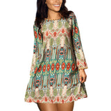 2017 Fashion Summer Vintage Ethnic Dress Sexy Women Boho Floral Printed Casual Beach Dress Loose Sundress - Raja Indonesia