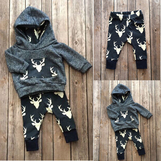 Baby Boys Girls Clothes Set Warm Outfits Deer Tops Hoodie Top Pant L