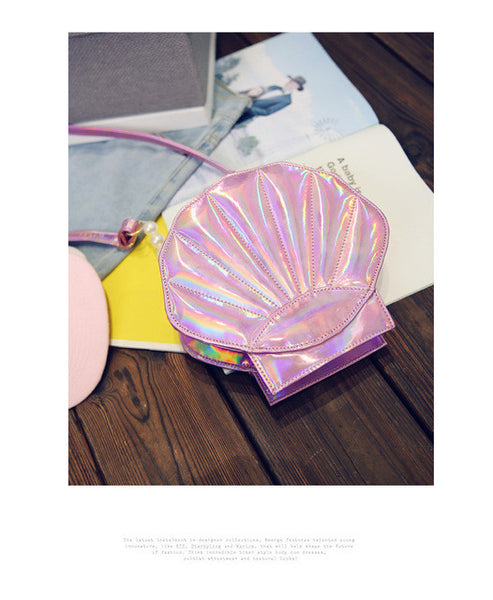 2017 Lovely Laser Lolita Bags Sea Shell Shape Design Women Bag Shoulder PU Leather Girls Funny Flap Messenger Crossbody Bag Q005 - Raja Indonesia