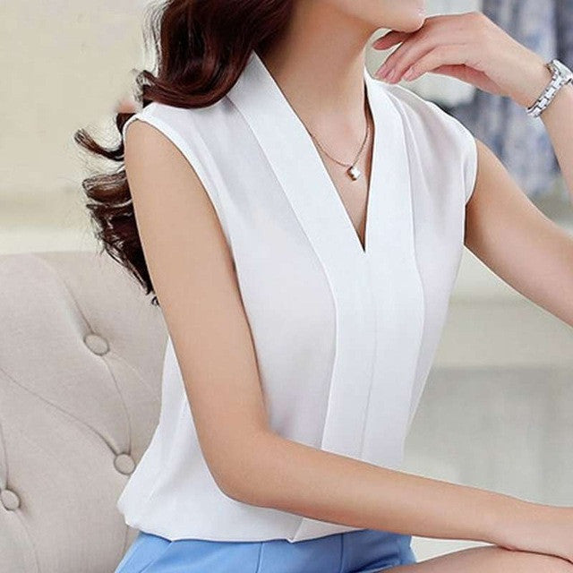 2017 New Fashion Women Chiffon Blouses Ladies Tops Female Sleeveless Shirt Blusas Femininas White,Red,Purple,Black S-XL - Raja Indonesia