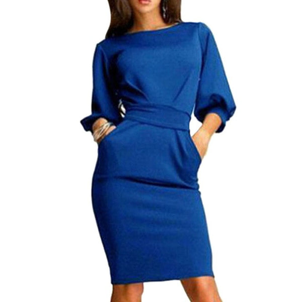 2017 Hot Spring Summer Women Dress Half Sleeve Clubwear Formal Evening OL Bodycon Bow Mini Dresses Plus Size - Raja Indonesia