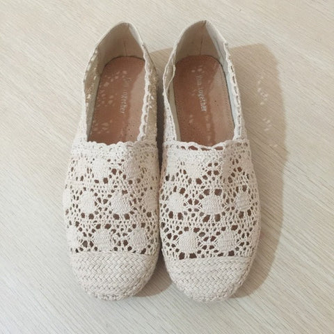 Free shipping new women casual flat shoes fashion slip on round toe loafers lace cut outs straw hemp rope canvas shoes - Raja Indonesia