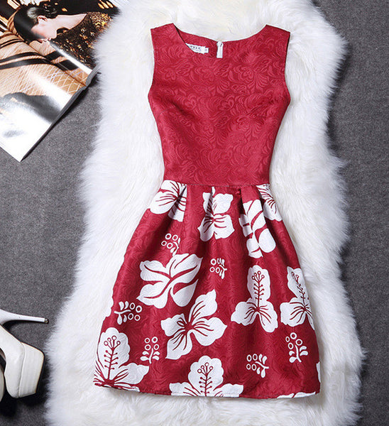2XL New Brand Spring Summer Plus Size Women Print Floral Vest Dress Sleeveless A Line Party Fashion Dresses Vestido De Festa Hot - Raja Indonesia