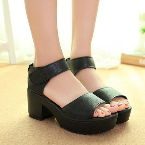 White Women Sandals Hook & Loop 2016 Platform High Heels Lightweight EVA Cut-Outs Sandals Open Toe Black X939 35