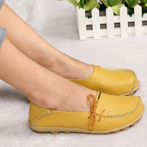 New Women Real Leather Shoes Moccasins Mother Loafers Soft Leisure Flats Female Driving Casual Footwear Size 35-42 In 16 Colors - Raja Indonesia