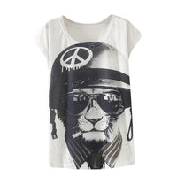 2016 Fashion  Spring Summer T Shirt Women Clothing Tops Animal Owl Print T-shirt Printed White Woman Clothes - Raja Indonesia