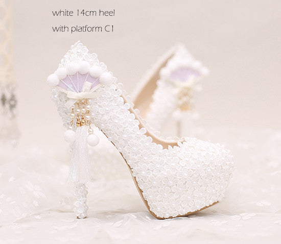 ... Lace pearl white flowers bridal shoes thin high heel platform shoes  with pearl pendant round  ... 3baf2544c803