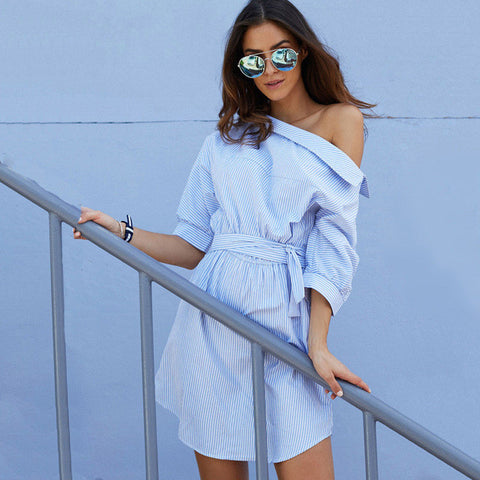 2016 Fashion one shoulder Blue striped women dress shirt Sexy side split Elegant half sleeve waistband OL girls  beach dresses - Raja Indonesia