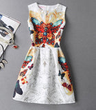 2017 Women Summer Bodycon Dress Vintage Printed Sexy Sleeveless Party Vestido De Festa Female Clothing A Line Dresses PRDRS96 - Raja Indonesia