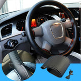 1pcs Black DIY Car Steering Wheel Cover With Needles and Thread Genuine Artificial leather for car decoration accessories - Raja Indonesia