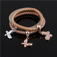 2017 3Pcs Gold Plated Charm Bracelets For Women Pulseiras Luxury Love Bracelet Fashion Multilayer Bracelet For Women - Raja Indonesia