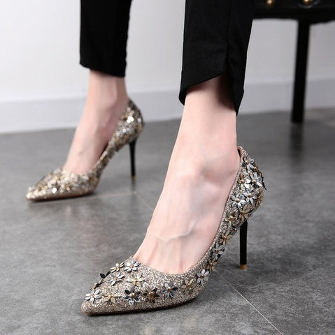 NEW 2016 autumn paragraph shallow mouth pointed high heels shoes small flower sequins rivets fine with a single shoe female shoe - Raja Indonesia
