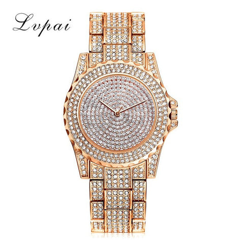 Lvpai Top Brand Silver Luxury Women Dress Watch Rhinestone Ceramic Crystal Quartz Watches Magic Women Wrist Watch Female LP033 - Raja Indonesia