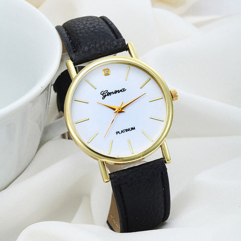 Newest CLAUDIA Women's Fashion Design Dial Leather Band Analog Geneva Quartz Wrist Watch FreeShipping 2016 Hot sale Reloj Mujer - Raja Indonesia