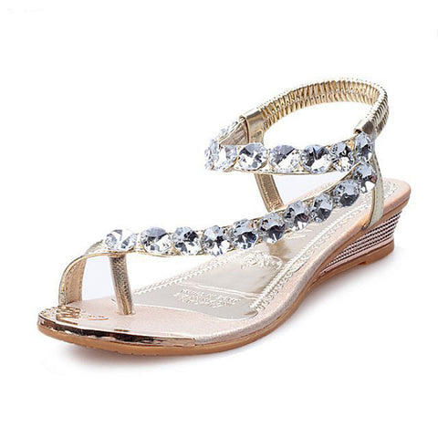 HEE GRAND Brand Woman Sandals Flat with Flip Flop Rhinestone Summer Style Shoes Woman Drop Shipping XWZ095 - Raja Indonesia