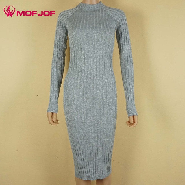 19aaa4e1e9a54 ... Women sweater dress 2017 spring autumn long sexy Bodycon Dresses  Elastic Skinny twinkle Knitted Dress vestidos ...